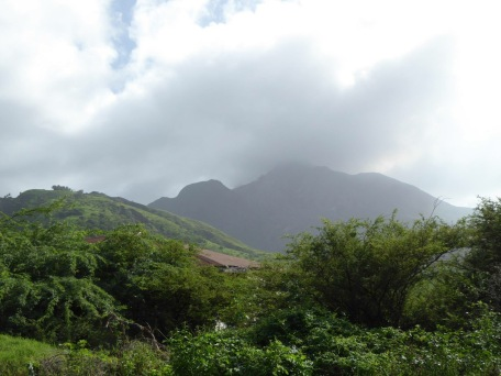 Looking over ruins of Plymouth, destroyed by the volcano in Soufriere Hills