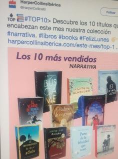 Featuring in Harper Collins Iberica'sTop 10 mas vendidos